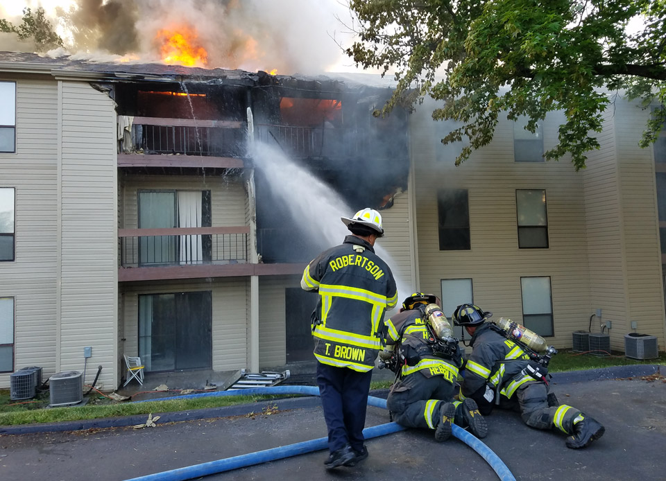 apartment fire in Maryland Heights, MO